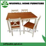 cor do Bi da madeira de pinho 5-Piece que janta a mobília ajustada (W-DF-0627)