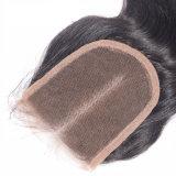 Chiusure tre/liberi/parte centrale del merletto dei capelli 3.5X4 di beatitudine della parte superiore del merletto della chiusura dell'onda svizzera del corpo del Virgin dei capelli umani delle parti peruviane SL-Cl8a13 delle chiusure