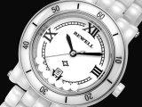 Reloj de señora Ceramic de los hombres con blanco de cristal mineral