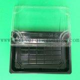 Umweltfreundliches Wegwerfplastiksushi-Tellersegment mit Deckel und Drucken