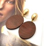 A madeira natural oval grande elegante de Brown oscila brincos de gota