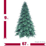 9FT. L'albero di Natale artificiale nobile blu di Spruc con il LED si illumina (M100.069.01)