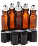 bernsteinfarbige Glasrolle 10ml auf Duftstoff-Flasche mit Metalrolle
