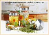 haushalts-Speicher-Glas des Abziehbild-3PC Glaseingestellt mit Metallkappe