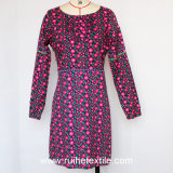 Ladiesのための長いSleeve Fashion Print Woven Dress