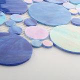 Azulejo de mosaico del vidrio manchado del diseño de la playa del azul y del color del océano
