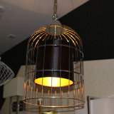 Lámpara pendiente de la jaula negra de acero de Satinless para el proyecto del hotel