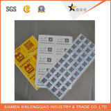 Etiqueta engomada adhesiva impermeable resistente impresa de la escritura de la etiqueta de la impresión de la luz del sol de papel del rasguño
