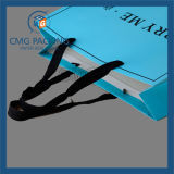 Blue stampato Shopping Bag con Black Printing e Wide Satin Handle (CMG-MAY-041)
