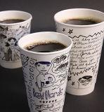 Бумажный стаканчик Starbucks нового стандартного верхнего сбывания устранимый с машиной крышки и втулки (ZBJ-X12)