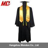 Robe noire personnalisée en gros de graduation de lycée pour l'adulte