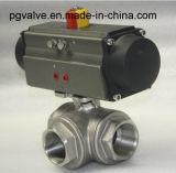 Robinet à tournant sphérique de flottement à trois voies d'amorçage d'acier inoxydable de CF8 1000wog