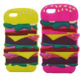 Le mélange colore la caisse de téléphone mobile de silicones d'hamburger pour Samsung (XSF-034)