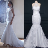 2016 Halter Satin Lace Mermaid Wedding Dresses (TM-mm008)