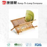 Cremalheira de prato de dobramento de bambu com suporte do utensílio