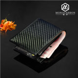 GroßhandelsLuxury Slim Smart Carbon Fiber Genuine Leather Wallet für Men