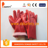 Guanto Finished liscio rosso Dpv111 di Woking della fodera del cotone del PVC