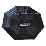 قوّيّة ثلاثة يطوي دليل استخدام مظلة مفتوحة ترويجيّة مع علامة تجاريّة طبق