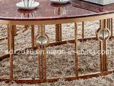 현대 거실 호화스러운 타원형 대리석 황금 스테인리스 차 커피용 탁자