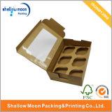 Caja de encargo de la magdalena del papel de Kraft de la ventana (QYZ022)