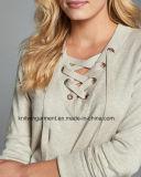 Одежды свитера втулки круглой шеи способа женщин OEM длинние