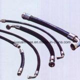 Mangueira de borracha hidráulica flexível do petróleo SAE100r3 de alta pressão espiral