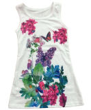 Beautiful Girl Vest in Children Girl T-Shirt avec des fleurs (SV-023)