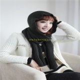Nuevo bufanda hecha punto de la redecilla del cuello del invierno de la muchacha de la manera de la llegada calentador con los botones