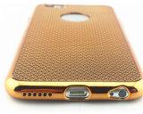 iPhone 7のケース(XSDD-007)のための電気めっきの柔らかいTPUのケースの織り方の格子電話箱