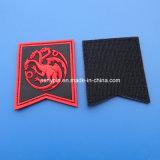 Het aangepaste RubberFlard van het etiket van het Embleem met de Rug van de Klitband