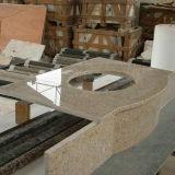 Dessus jaunes bon marché de vanité de salle de bains de granit de la Chine