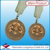 La medaglia di bronzo su ordinazione dell'argento dell'oro 3D mette in mostra la medaglia di oro del metallo della medaglia di giorno con il nastro del collo