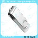Белый привод USB пластмассы 8GB шарнирного соединения с изготовленный на заказ логосом (ZYF1848)