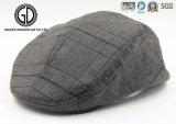 Herringbone Tweed-Mischungs-Verschluss-Vorderseite-Zeitungsjunge-Qualität EFEU Schutzkappe Gatsby Hut