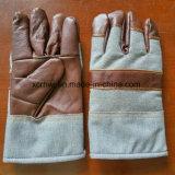 冬の暖かい労働の手袋、冬の暖かい働く手袋、冬の働く手袋、革冬の働く手袋、牛グレーンレザーの羊毛質の並べられた冬の暖かい働く手袋