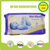Wipes bagnati di Spunlace del tessuto del bambino non tessuto bianco morbidamente