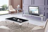Vector de extremo superior de cristal del café del acero inoxidable de la sala de estar moderna