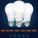 Luz de bulbo Certificated CB do diodo emissor de luz do teste 15W 12W 9W 7W E14 E27 da fábrica E27 Lm80