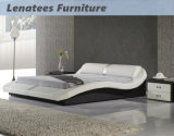 Hölzerne Bett-Entwürfe der ledernen Möbel-A070