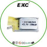 601523 batterie d'ion de lithium de 3.7V 120mAh-150mAh