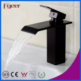 Miscelatore nero del colpetto di acqua della stanza da bagno del rubinetto del bacino della cascata del globo (Q3003B)