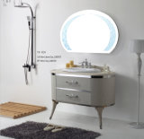 Steel di acciaio inossidabile White Sliver su Wall Two Drawers Two Legs Bathroom Cabinet (YB-920)