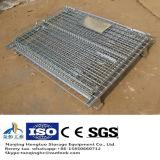 Recipiente Foldable resistente do engranzamento de fio de aço com rodas