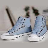 Alto Cut Flat Blue/Navy Leisure Vulcanized Canvas Shoes para Mens/Women