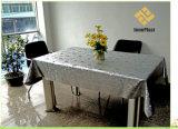 Tablecloth gravado Siliver do PVC com revestimento protetor de tela (TJG0063)