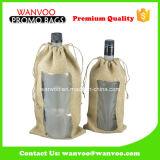 Reutilizable Simple bolsa de vino bolsa de cordón con ventana de PVC