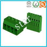 Costume bloco terminal verde Pluggable do PWB de 3 Pin do passo de 5.08 milímetros