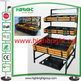 Supermarket Three Tiers Display Shelf Rack pour légumes frais