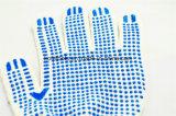 Перчатки хлопка работы перчаток руки хлопка многоточий сини PVC