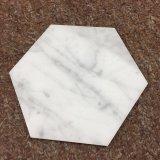 Sottobicchiere materiale di esagono del marmo 98mm di Bianco Carrera